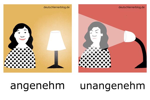 angenehm - unangenehm - Adjektive illustriert - Adjektive Bilder