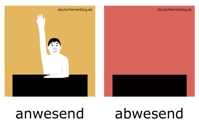 anwesend - abwesend - Schule - Adjektive - Bilder