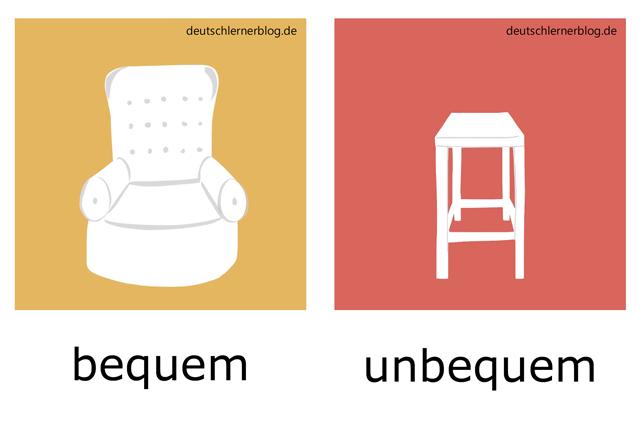 bequem - unbequem - Sessel - Stuhl - Adjektive Bilder