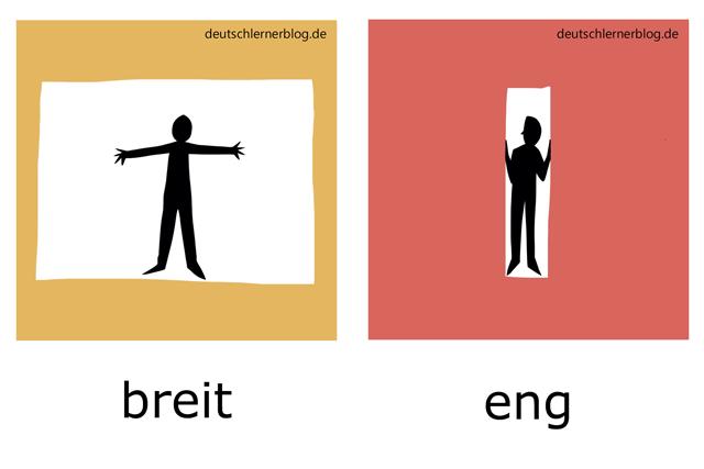 breit - eng - Adjektive Bilder
