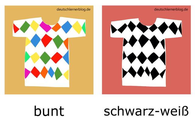 bunt - schwarz-weiß - Adjektive illustriert
