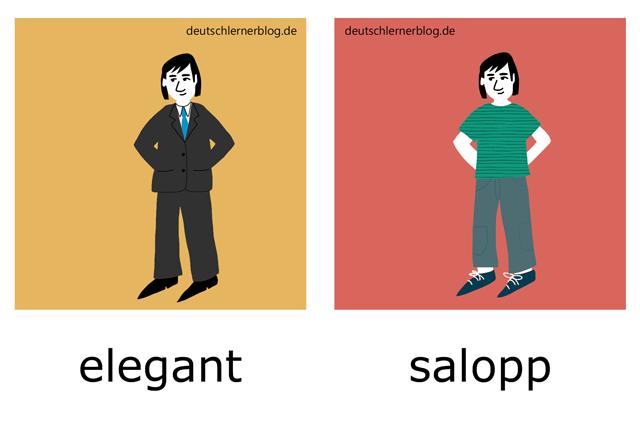 elegant - salopp - Kleidung - Stil - Adjektive