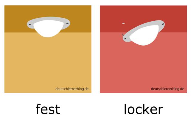 fest - locker - illustrierte Adjektive