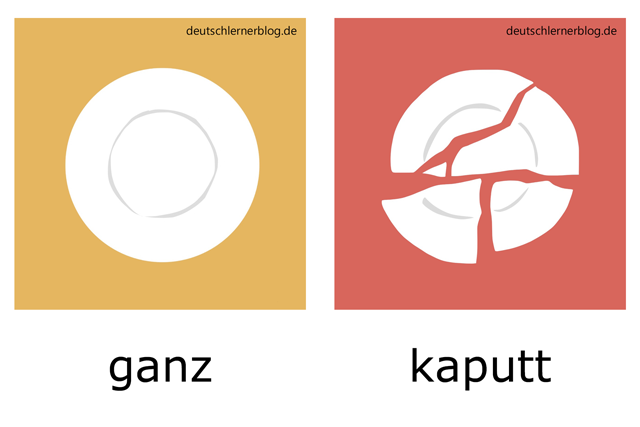 ganz - kaputt - Teller - Adjektive illustriert