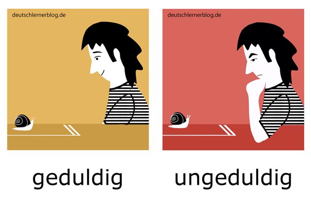 geduldig - ungeduldig - illustrierte Adjektive