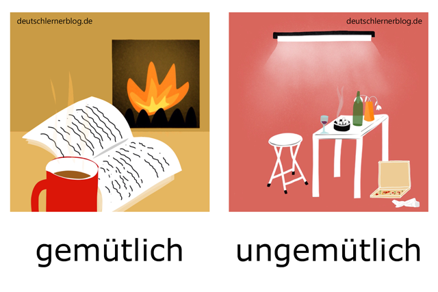 gemütlich - ungemütlich - Gemütlichkeit - illustrierte Adjektive Bilder