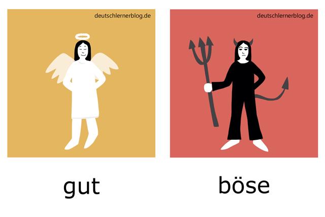 gut - böse - Engel - Teufel - deutsche Adjektive