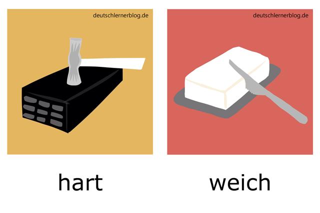 hart - weich - deutsche Adjektive Bilder