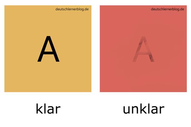 klar - unklar - illustrierte Adjektive