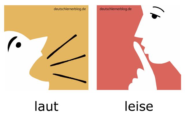 laut - leise - Adjektive Bilder illustriert