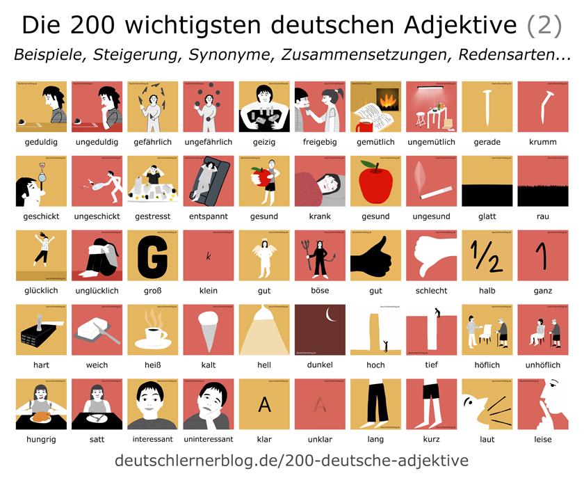 wichtige deutsche Adjektive illustriert