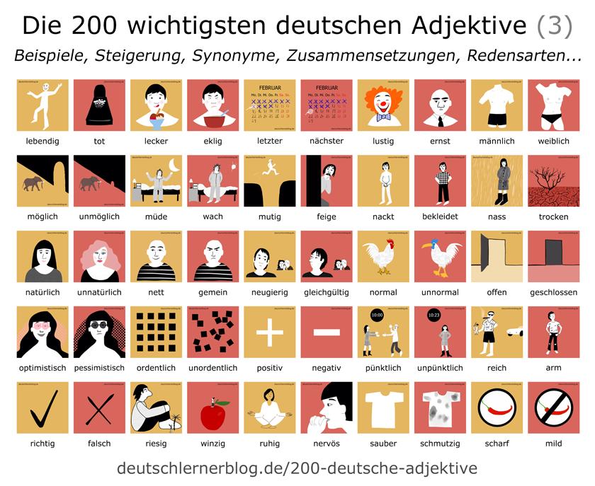 illustrierte Adjektive - Bilder - Poster - Lernplakat - E-Book