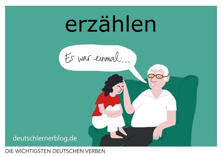 erzählen - illustrierte Verben