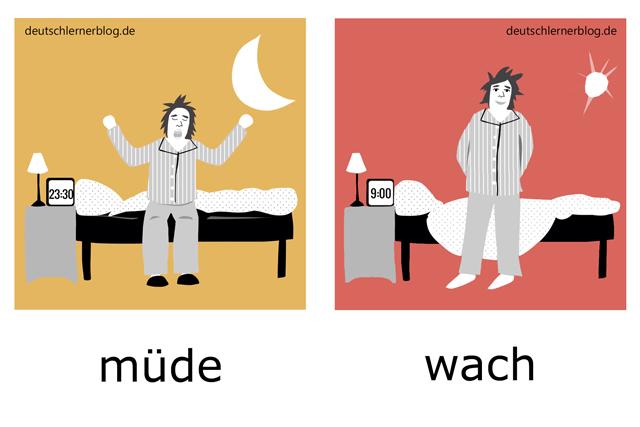 müde - wach