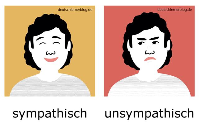 sympathisch - unsympathisch - Adjektive