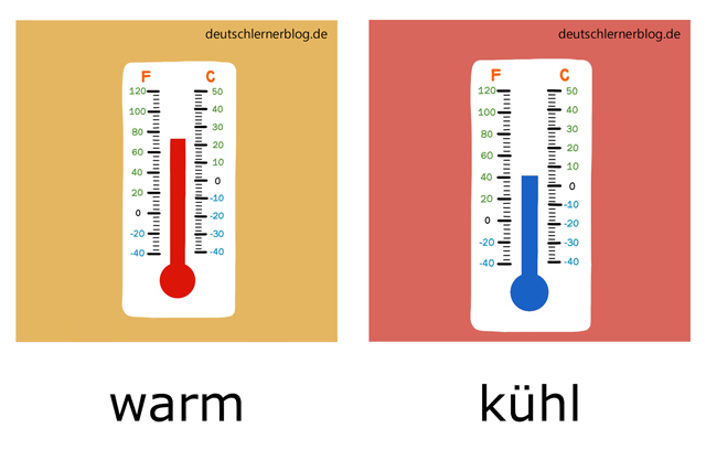 warm - kühl - Adjektive