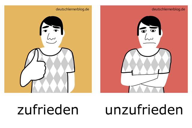 zufrieden - unzufrieden - Adjektive