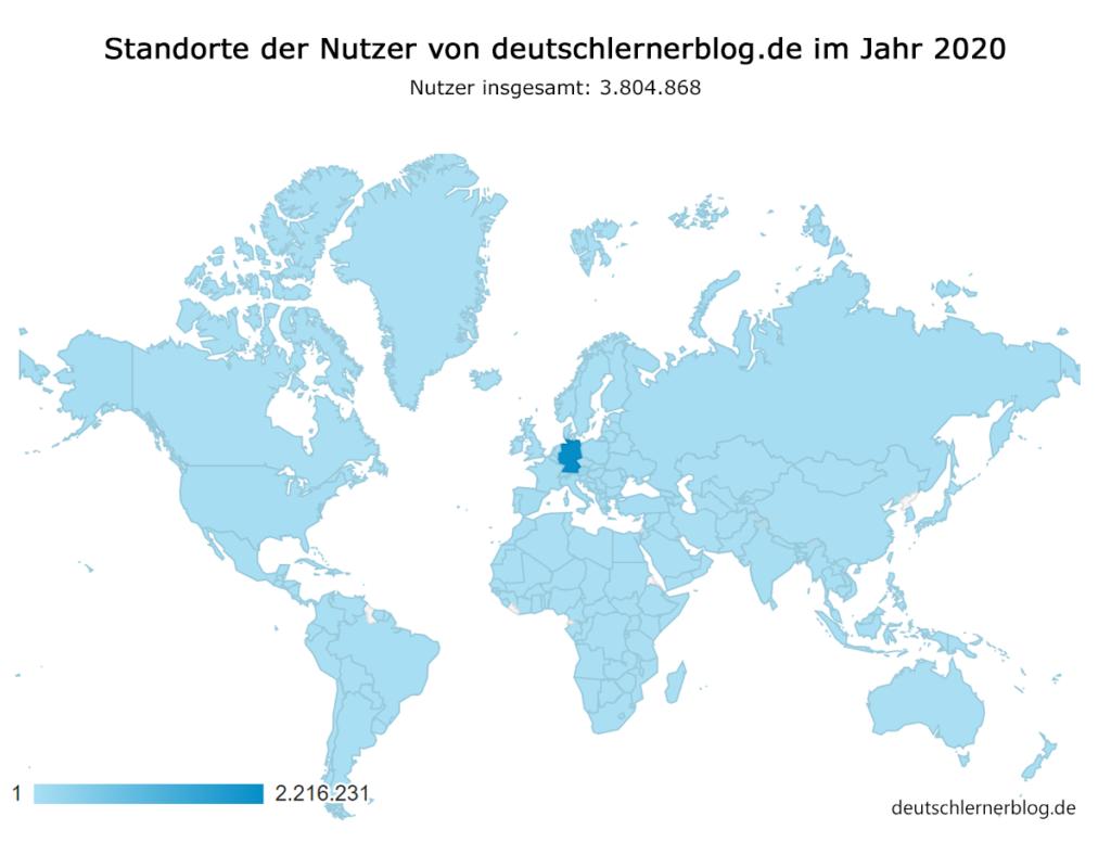 Standorte Nutzer von Deutschlernerblog - Herkunft der Nutzer