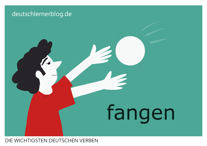 fangen - illustrierte Verben - Bilderkarten