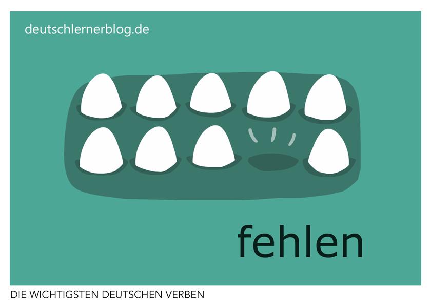 fehlen - illustrierte Verben - Bilderkarten