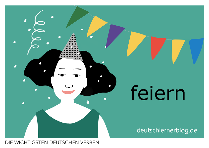 feiern - illustrierte Verben - Bilderkarten
