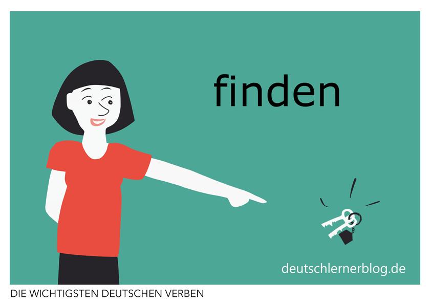 finden - illustrierte Verben - Bilderkarten