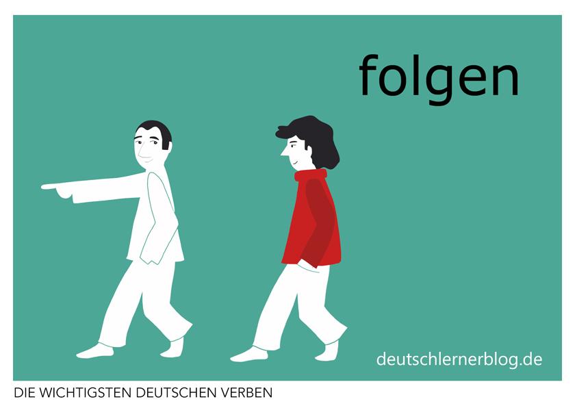 folgen - illustrierte Verben - Bilderkarten