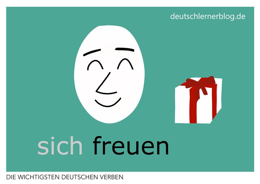 sich freuen - illustrierte Verben - Bilderkarten