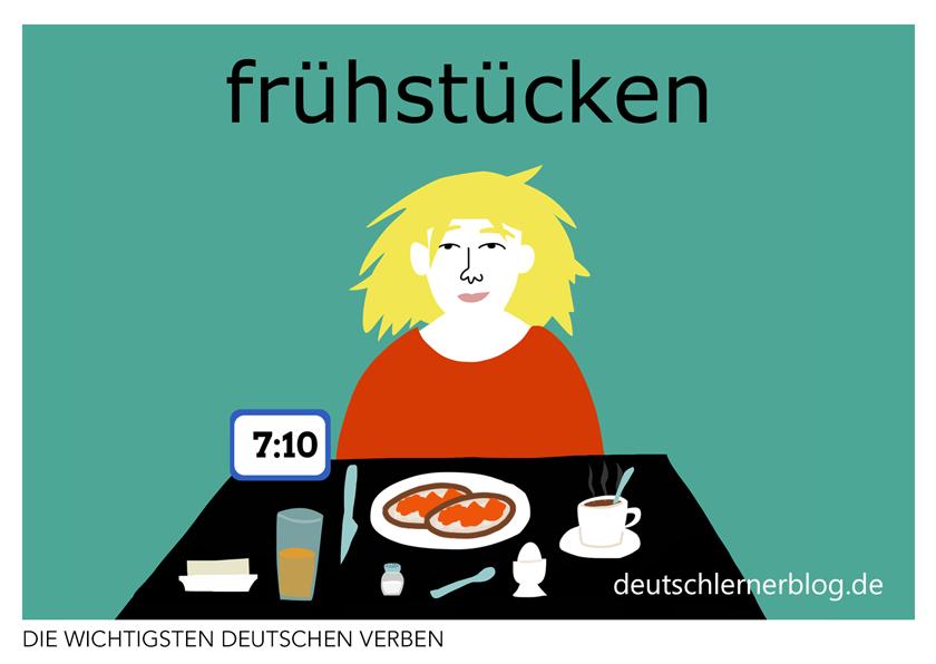 frühstücken - illustrierte Verben - Bilderkarten