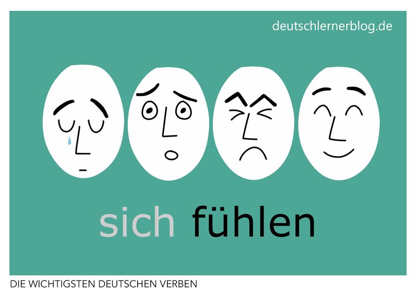 sich fühlen - illustrierte Verben - Bilderkarten