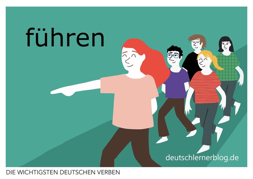 führen - illustrierte Verben - Bilderkarten