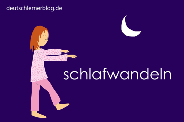 schlafwandeln - Wortschatz mit Bildern lernen