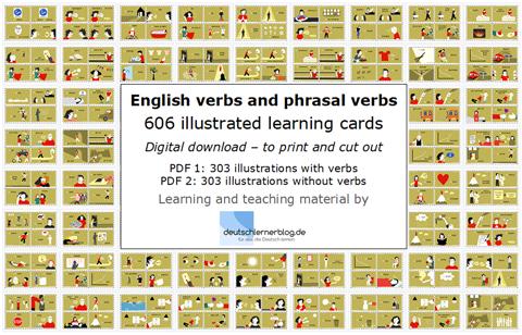 english verbs and phrasal verbs - illustrated verbs illustration