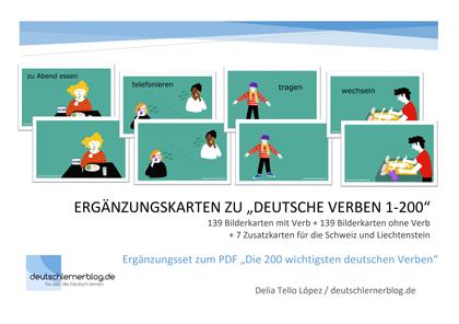 Illustrierte deutsche Verben - Bilderkarten