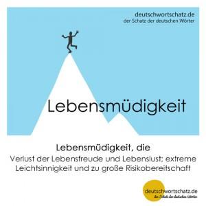 Lebensmüdigkeit - Wortschatz Deutsch Bilder