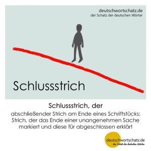 Schlussstrich - Wortschatz Deutsch Bilder
