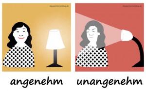 angenehm - unangenehm - Adjektive - Gegensatzpaare