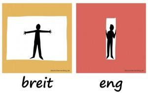 breit - eng - Adjektive - Gegensatzpaare