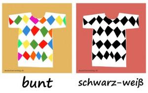 bunt - schwarz-weiß - Adjektive - Gegensatzpaare