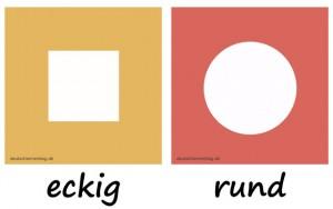 eckig - rund - Adjektive - Gegensatzpaare