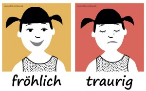 fröhlich - traurig - Adjektive - Gegensatzpaare
