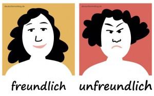 freundlich - unfreundlich - Adjektive - Gegensatzpaare