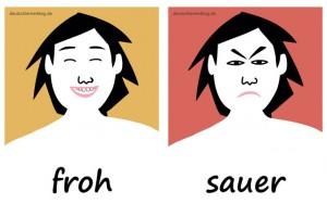 froh - sauer - Adjektive - Gegensatzpaare