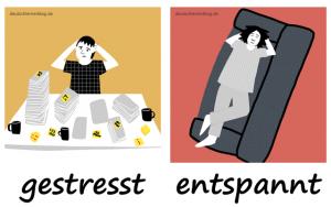 gestresst-entspannt-Adjektive-Bilder-Gegensatzpaare-deutschlernerblog