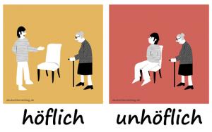 höflich- unhöflich - Adjektive - Gegensatzpaare