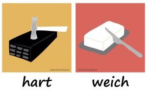 hart - weich - Adjektive - Gegensatzpaare