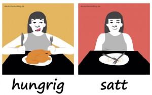hungrig - satt - Adjektive - Gegensatzpaare