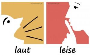 laut - leise - Adjektive - Gegensatzpaare