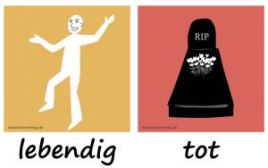lebendig - tot - Adjektive - Gegensatzpaare
