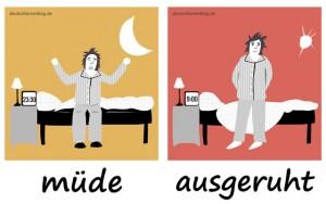 müde - ausgeruht - Adjektive - Gegensatzpaare